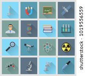 science themed flat icons. file ... | Shutterstock .eps vector #1019556559