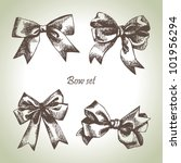 set of bow. hand drawn... | Shutterstock .eps vector #101956294
