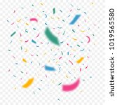 colorful flying confetti in... | Shutterstock .eps vector #1019565580