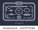 nautical rope knots and frames... | Shutterstock .eps vector #1019575186