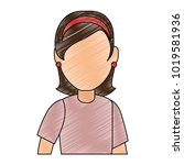 beautiful woman avatar character | Shutterstock .eps vector #1019581936