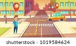 vector urban navigation  taxi... | Shutterstock .eps vector #1019584624
