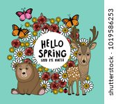 hello spring season with cute... | Shutterstock .eps vector #1019586253