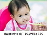 baby eat food from her mother... | Shutterstock . vector #1019586730