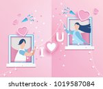 lovely joyful couple valentine... | Shutterstock .eps vector #1019587084