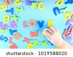 the girl puts out of the... | Shutterstock . vector #1019588020
