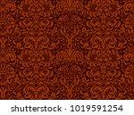 seamless black ornament on a... | Shutterstock .eps vector #1019591254