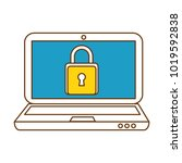 laptop computer with padlock | Shutterstock .eps vector #1019592838