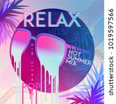 80's. relax. 80' hot summer mix.... | Shutterstock .eps vector #1019597566