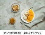 healthy light breakfast ... | Shutterstock . vector #1019597998