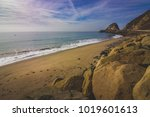 Rocky shoreline view of the Point Mugu Rock along Pacific Coast Highway, Point Mugu, California