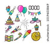 cute colorful new year doodle... | Shutterstock .eps vector #1019603869