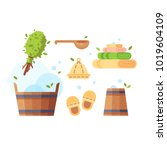vector set of bath and sauna... | Shutterstock .eps vector #1019604109
