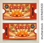 vintage circus entry tickets ... | Shutterstock .eps vector #1019605420