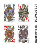 pictures of playing cards king... | Shutterstock .eps vector #1019609824