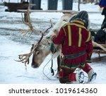 deer and reindeer breeder... | Shutterstock . vector #1019614360