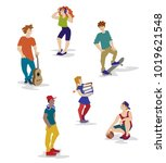 a vector illustration of group...   Shutterstock .eps vector #1019621548