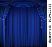 blue theater curtain. silk... | Shutterstock .eps vector #1019622838