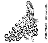 beautiful lady with a festive... | Shutterstock . vector #1019622883