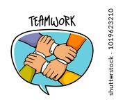 team building concept. stack of ... | Shutterstock .eps vector #1019623210