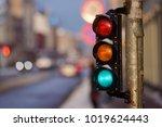 tram traffic light showing... | Shutterstock . vector #1019624443