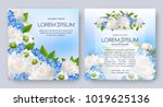 floral vector card set with... | Shutterstock .eps vector #1019625136