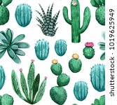 pattern with cactuses.... | Shutterstock . vector #1019625949
