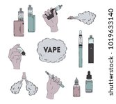 electronic cigarette  liquid... | Shutterstock .eps vector #1019633140