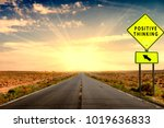road with positive thinking sign | Shutterstock . vector #1019636833