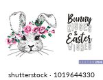 easter greeting card with bunny ... | Shutterstock .eps vector #1019644330