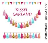 tissue paper tassel garland... | Shutterstock .eps vector #1019651779