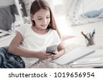 sending messages. attractive... | Shutterstock . vector #1019656954