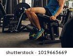 sportsman with beautiful legs... | Shutterstock . vector #1019665669
