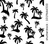 black palm trees icons seamless ... | Shutterstock .eps vector #1019666533