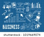 business doodle sketch set ... | Shutterstock .eps vector #1019669074