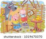three little pigs. fairy tale.... | Shutterstock . vector #1019670370