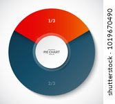 pie chart. share of 1 3 and 2 3.... | Shutterstock .eps vector #1019670490