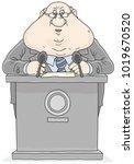 politician standing behind a... | Shutterstock .eps vector #1019670520