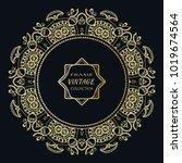 golden frame template with... | Shutterstock .eps vector #1019674564