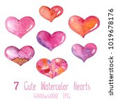 cute watercolor set of... | Shutterstock . vector #1019678176