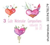 cute watercolor set of... | Shutterstock . vector #1019678179