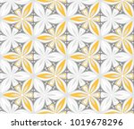 graphic flower arabesque pattern vector illustration. mandala ornament. grey, black and yellow geometric floral line oriental seamless pattern. flower of life background for fabric, wallpaper design
