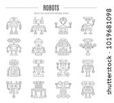 vector icon set with robots in... | Shutterstock .eps vector #1019681098