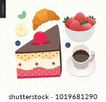 love  spring  breakfast   set... | Shutterstock .eps vector #1019681290