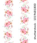 seamless summer pattern with... | Shutterstock . vector #1019681800