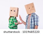 disappointed man with bags over ... | Shutterstock . vector #1019685220