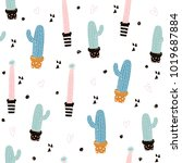 cute seamless pattern with... | Shutterstock .eps vector #1019687884
