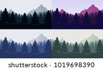 coniferous forest silhouette... | Shutterstock .eps vector #1019698390