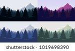 coniferous forest silhouette... | Shutterstock .eps vector #1019698390