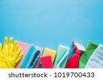 colorful cleaning set for... | Shutterstock . vector #1019700433